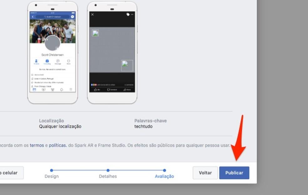 Ação para publicar um tema do Facebook — Foto: Reprodução/Marvin costa