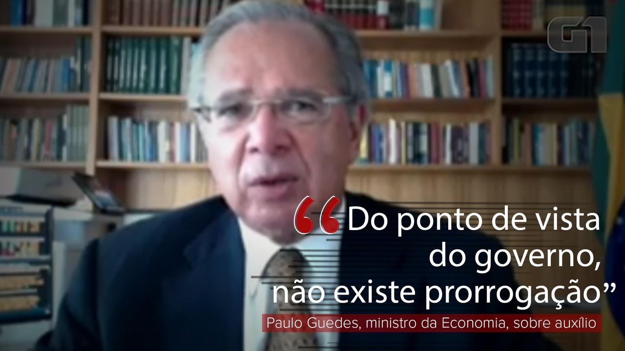 'Do ponto de vista do governo, não existe prorrogação', diz Paulo Guedes sobre auxílio