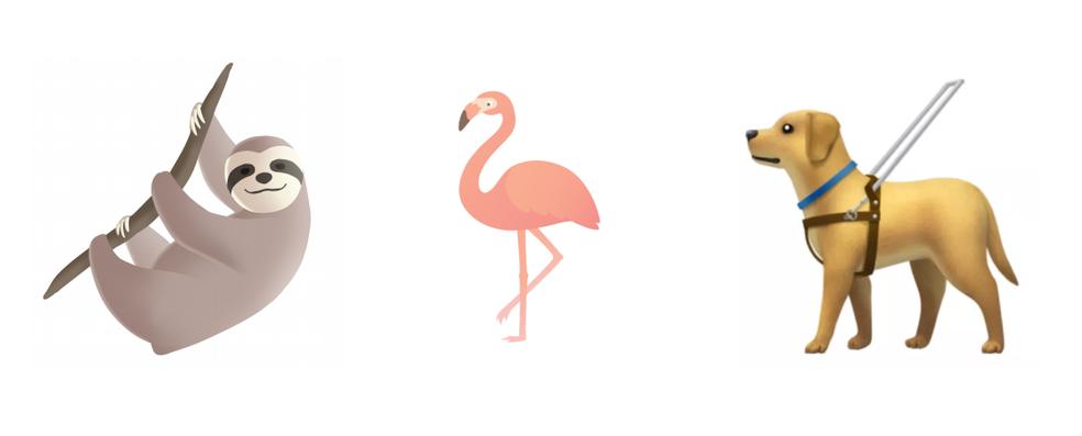 Preguiça, flamingo e cão-guia estão entre possíveis animais para atualização (Foto: Divulgação/Unicode)