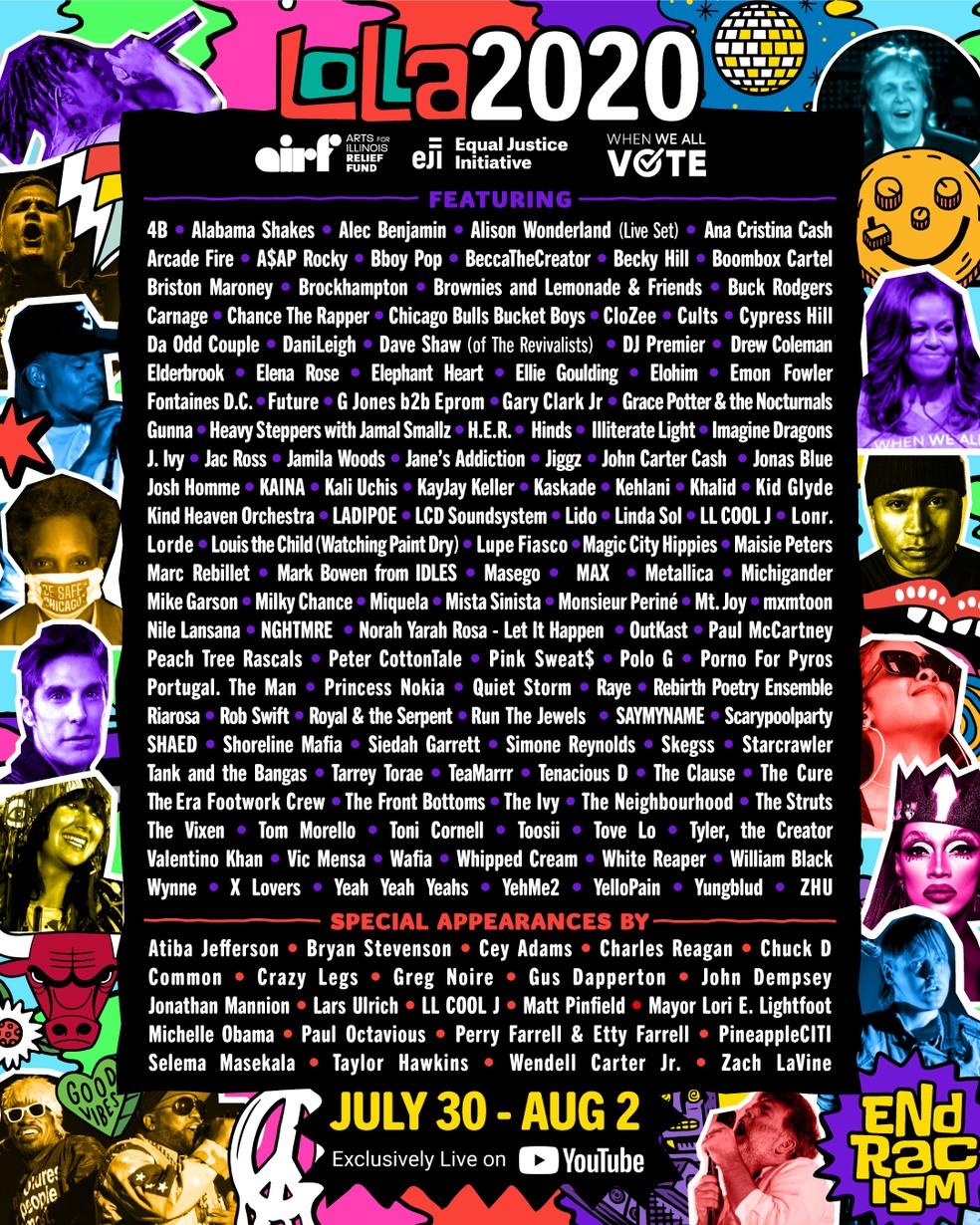 Lollapalooza anuncia programação de festival online a partir de quinta (30) — Foto: Reprodução/Twitter/Lollapalooza