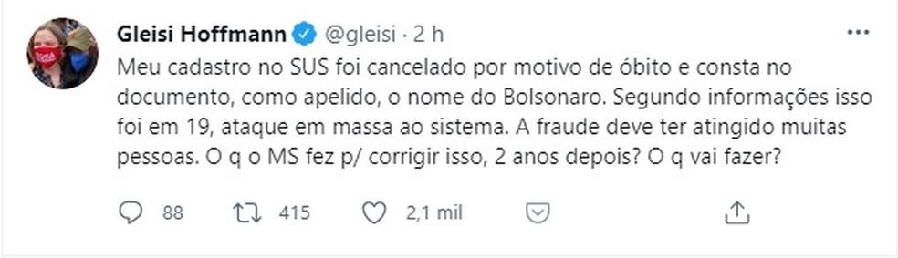 Deputada Gleisi Hoffmann comenta suspensão de cadastro no SUS.  — Foto: Twitter/Reprodução