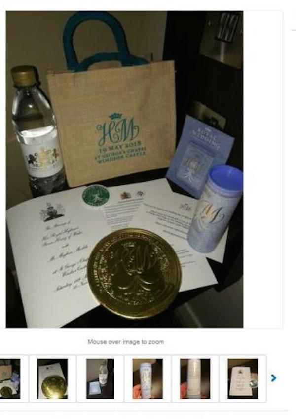 Alguns dos itens presentes da bolsa de lembranças dada por Meghan Markle e Príncipe Harry aos convidados de seu casamento (Foto: Reprodução)