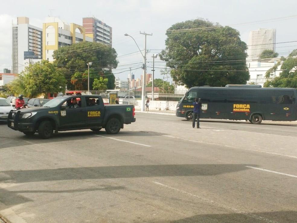 Policiais da Força Nacional estão em Natal desde janeiro (Foto: Ítalo Di Lucena/Inter TV Cabugi)