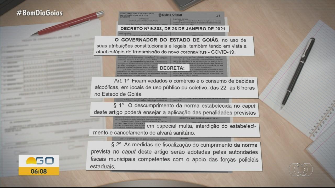 Novo decreto determina a Lei Seca em Goiás para evitar aumento dos casos de coronavírus