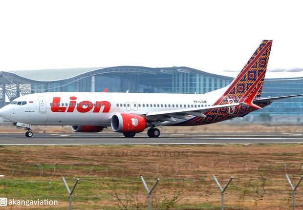 Um dos Boeings 737-MAX 8 da companhia (Foto: Facebook/Lion Air)