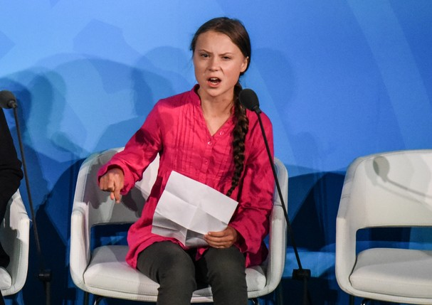 NEW YORK, NY - SEPTEMBER 23: Youth activist Greta Thunberg speaks at the Climate Action Summit at the United Nations on September 23, 2019 in New York City. While the United States will not be participating, China and about 70 other countries are expected (Foto: Getty Images)