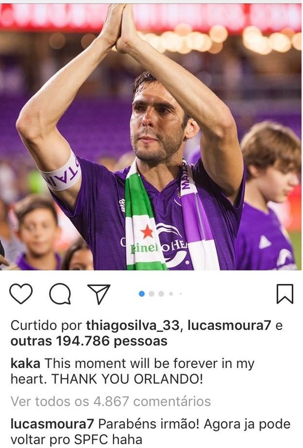 Lucas pede volta de Kaká ao São Paulo (Foto: Reprodução)
