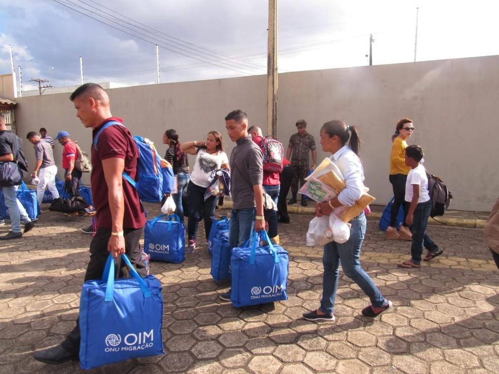 Grupo de 36 venezuelanos é o segundo que desembarca em Porto Velho com ajuda da FAB em 2019.  — Foto: Patrícia Grenhas/Cáritas Brasileira Articulação Noroeste