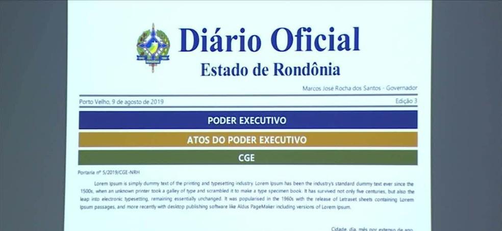 Diário oficial de Rondônia terá novo sistema, automatizado  — Foto: Reprodução/Rede Amazônica