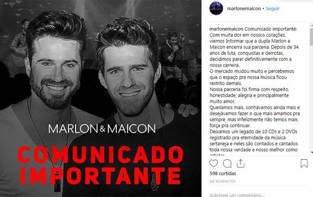 Marlon e Maicon encerram dupla (Foto: Reprodução)