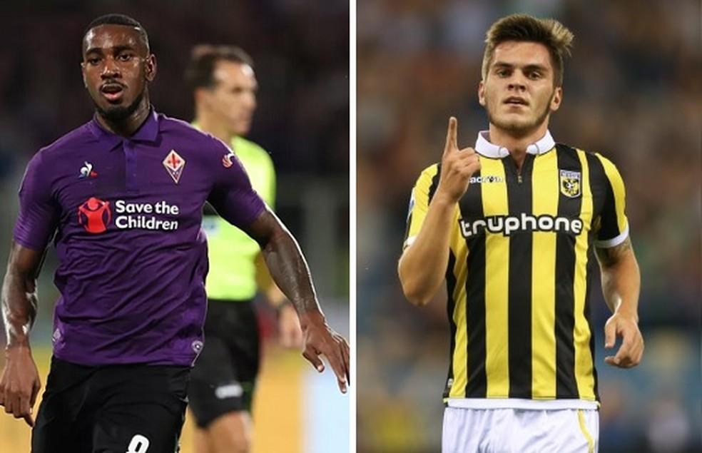 Gerson pela Fiorentina, da Itália, e Nathan pelo Vitesse, da Holanda — Foto: GloboEsporte.com