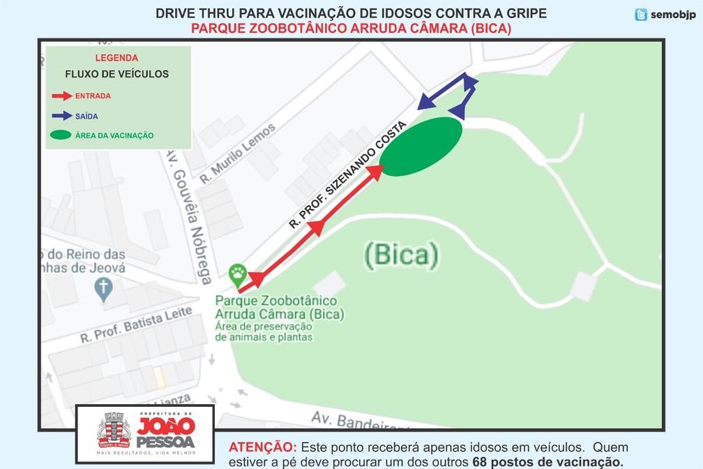 João Pessoa ganha pontos de 'drive thru' para vacinação de idosos a partir desta terça-feira — Foto: Secom-JP/Divulgação