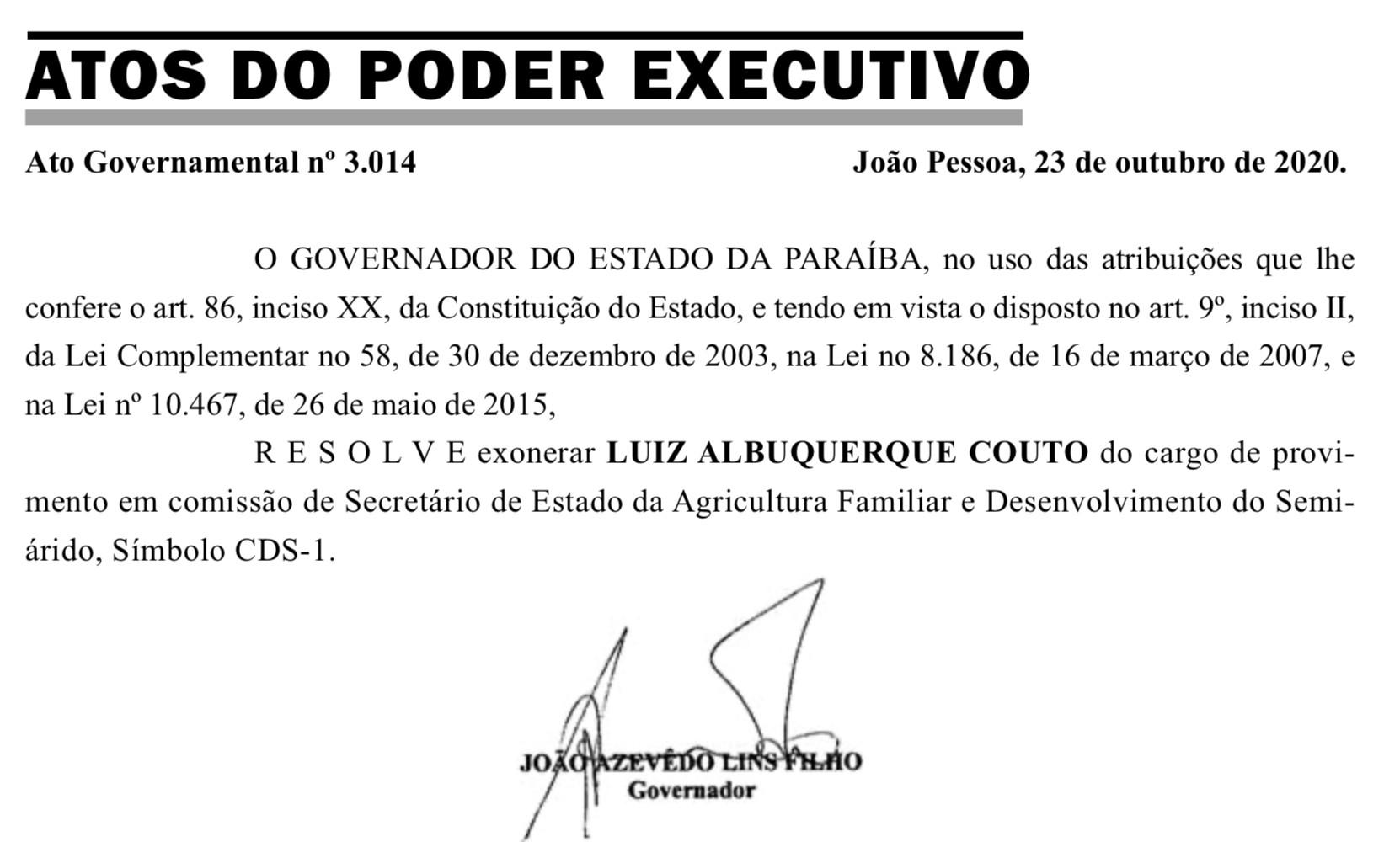 Governador da PB exonera Luiz Couto da Secretaria de Agricultura Familiar e Desenvolvimento do Semiárido