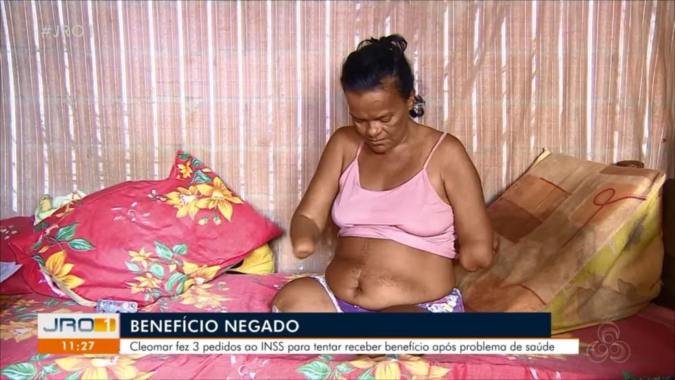 Cleomar diz que se sente constrangida após tantas negativas do INSS — Foto: Rede Amazônica/Reprodução