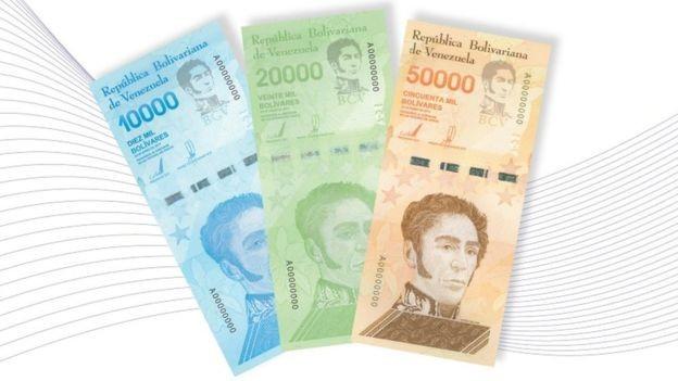 As novas notas são de 10 mil, 20 mil e 50 mil bolívares (Foto: Banco Central da Venezuela)