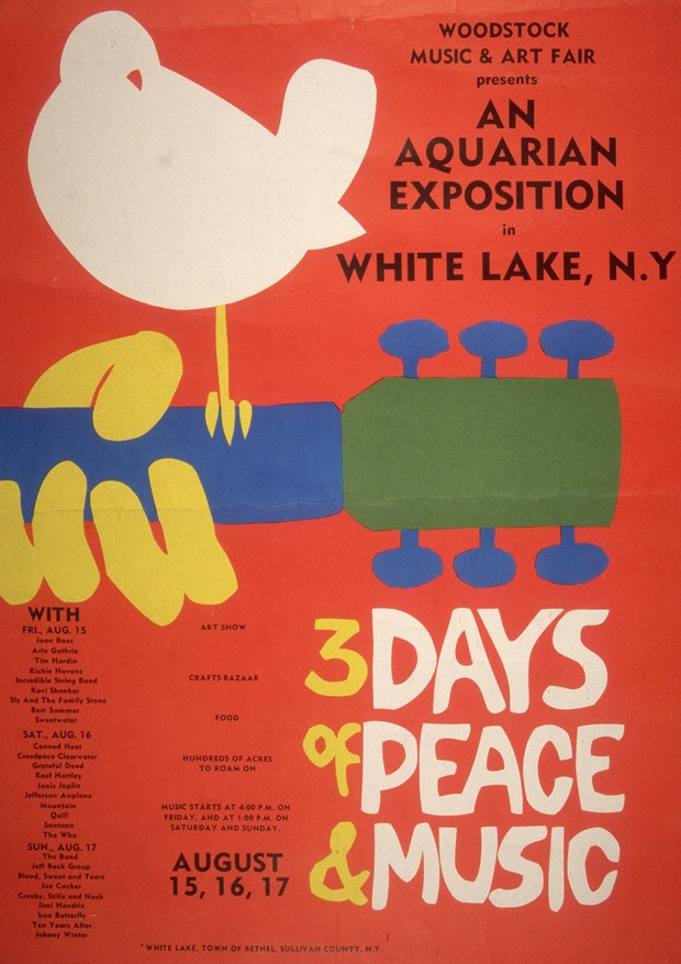 1969:  Promotional poster for the 1969 Woodstock Music and Arts Fair in Bethel, New York. A white dove sits on a guitar handle above the tagline, '3 DAYS of PEACE & MUSIC.' A schedule with the names of the performers, including Joan Baez, Grateful Dead, J (Foto: Getty Images)