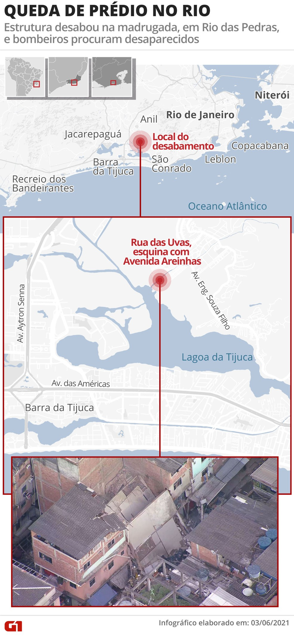 Veja o local do desabamento de prédio em Rio das Pedras — Foto: Arte / G1