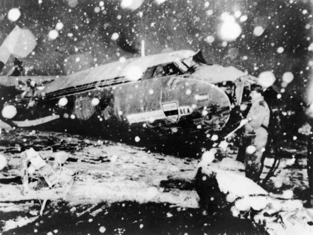 Acidente matou 8 jogadores do Manchester United, em 1958 (Foto: INTERCONTINENTALE/AFP)