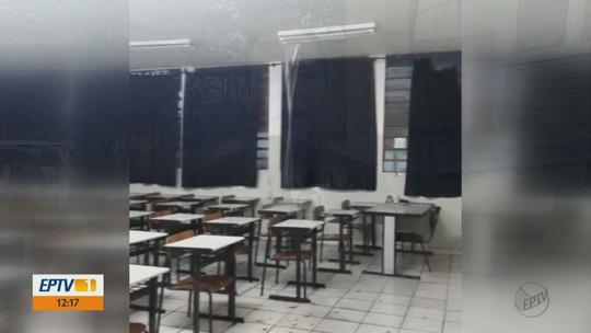 Mais de 460 estudantes ficam sem aula após chuva alagar 7 salas de escola em Porto Ferreira