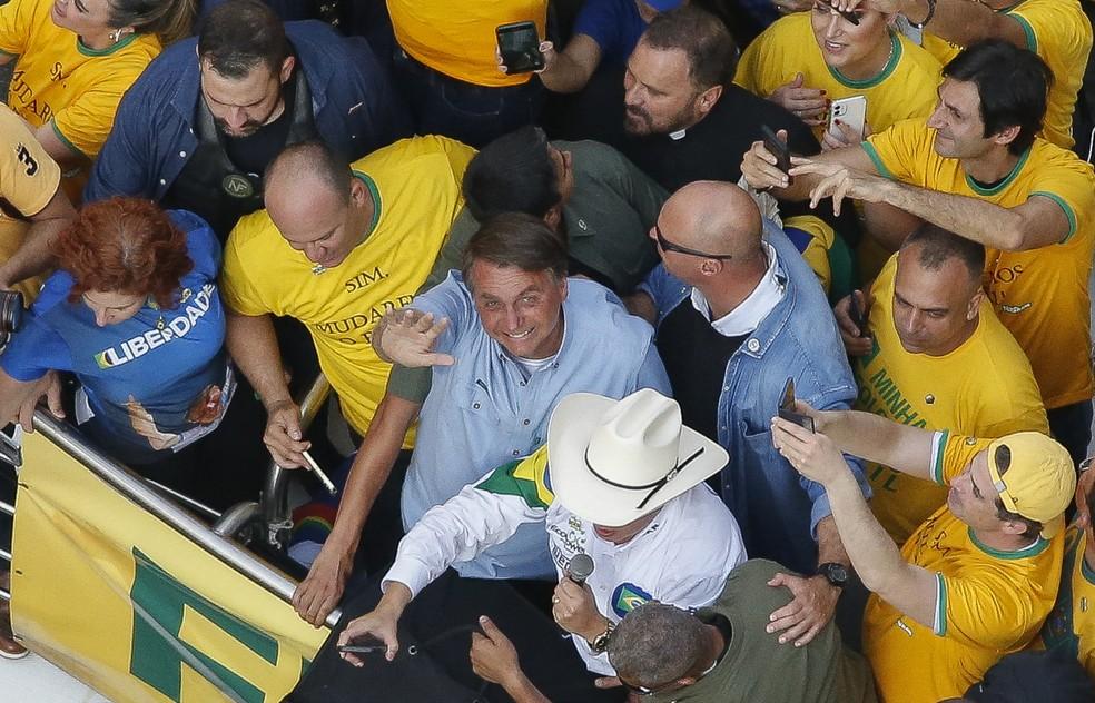 Bolsonaro em ato realizado em São Paulo  — Foto: Miguel Schincariol/ AFP