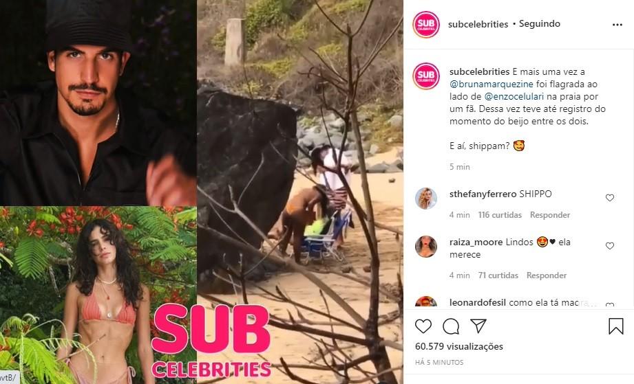 Bruna Marquezine e Enzo Celulari são flagrados trocando beijos em Noronha (Foto: Reprodução/Instagram)