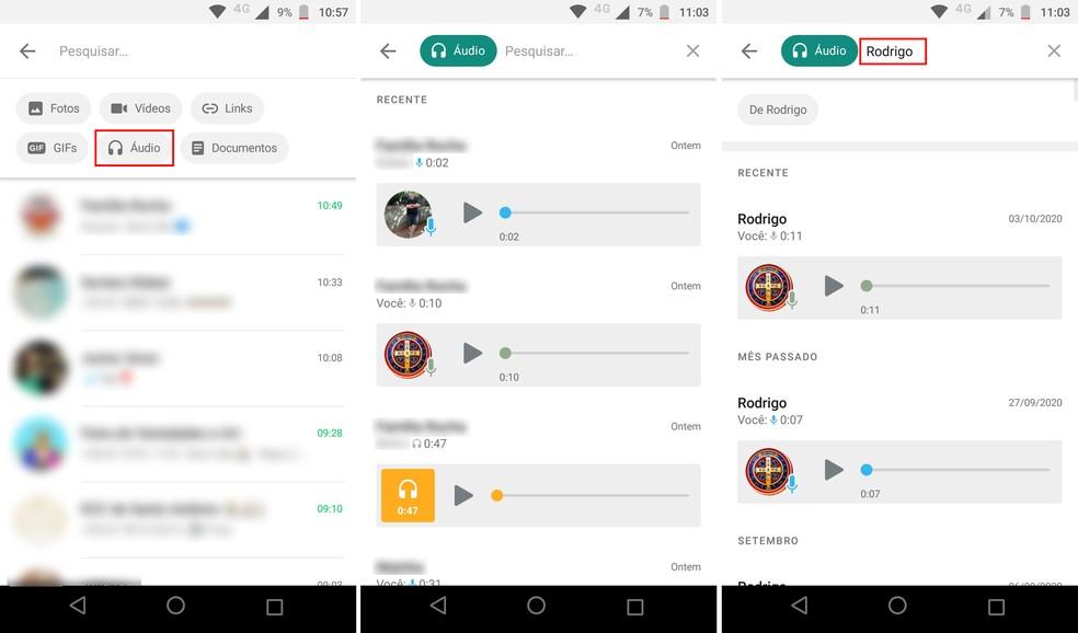 Pesquisando áudios em conversas antigas do WhatsApp no Android — Foto: Reprodução/Rodrigo Fernandes