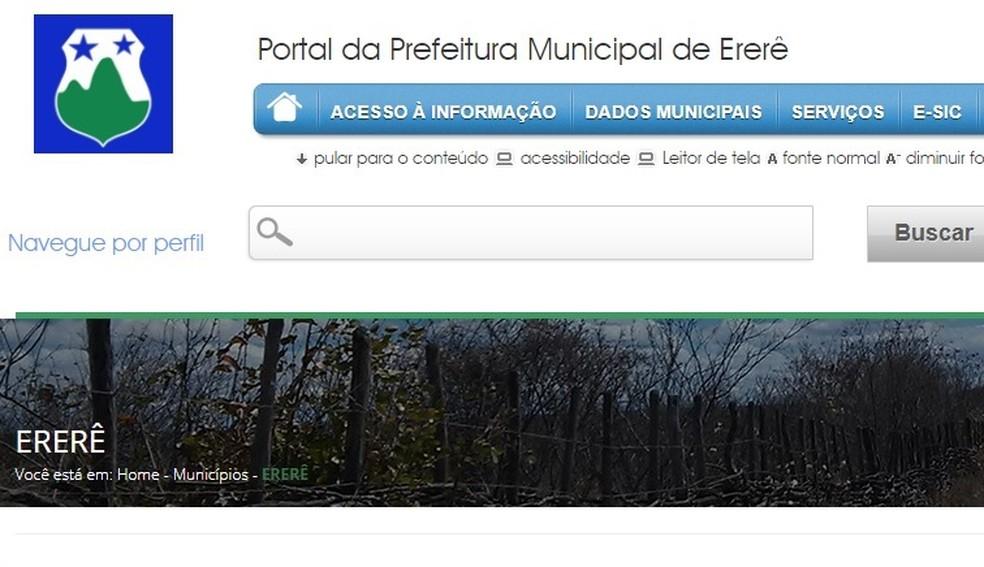 """Sites da Prefeitura (acima) e da Aprece registram """"Ererê"""", em vez de Ereré, como é registrado oficialmente pelo IBGE — Foto: Reprodução"""