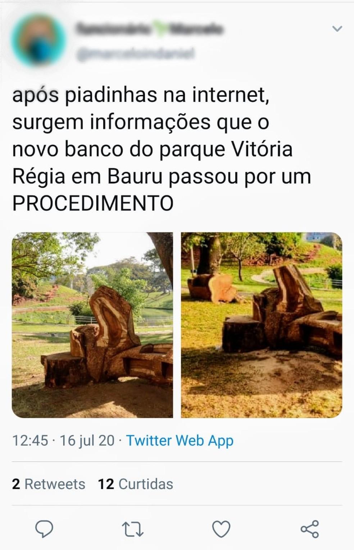 Banco do Parque Vitória Régia de Bauru causa polêmica na web — Foto: Reeprodução/Instagram