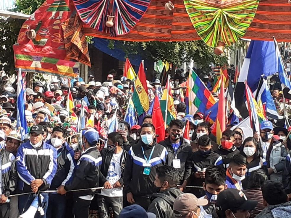 Bolivianos aguardam a volta de Evo Morales na cidade de Villazón, em 9 de novembro de 2020 — Foto: Melissa Rios/Divulgação assessoria da Presidência da Bolívia