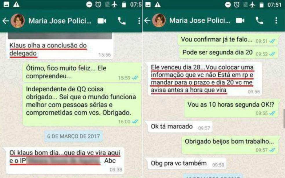 Em conversa no WhatsApp, escrivã envia conclusão de inquérito a investigado em Ribeirão Preto — Foto: Ministério Público/Divulgação
