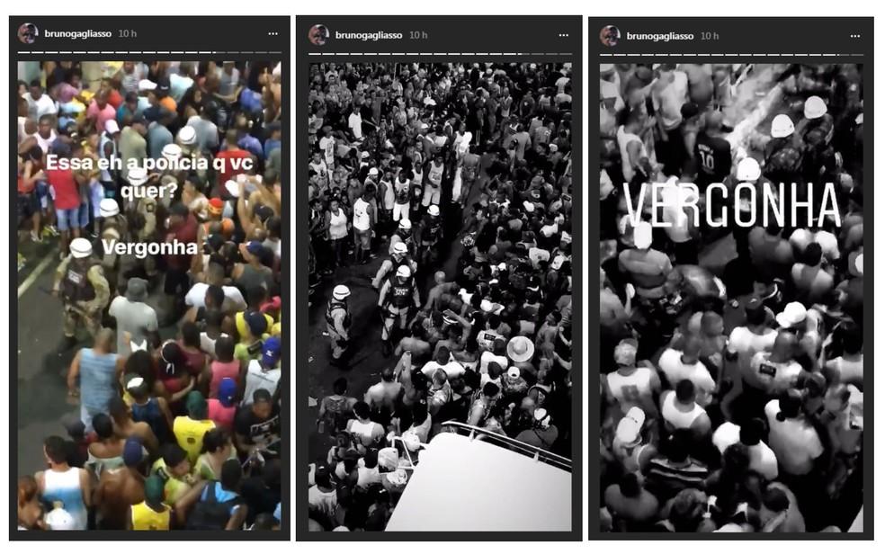 Ator critica ação da Polícia Militar durante o Carnaval (Foto: Reprodução/Redes Sociais)