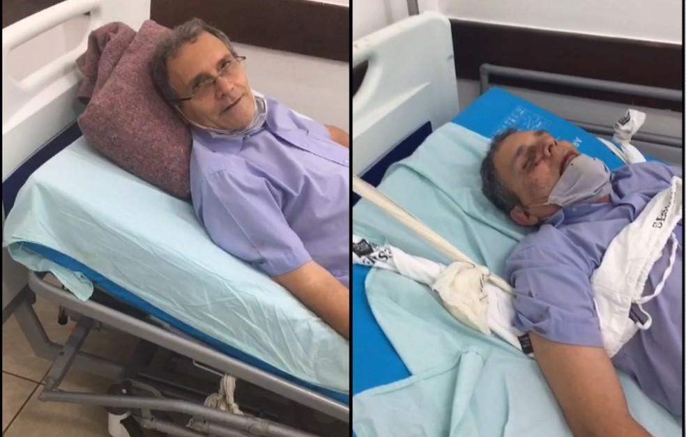 Idoso deu entrada na unidade médica de Volta Redonda com transtornos psiquiátricos e foi agredido durante internação — Foto: Reprodução