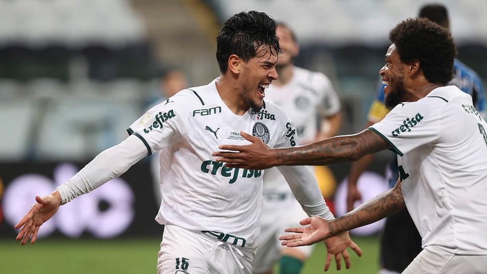 Gustavo Gómez, do Palmeiras, comemora seu gol contra o Grêmio no jogo de ida da final da Copa do Brasil, neste domingo (28) — Foto: Cesar Greco/Palmeiras
