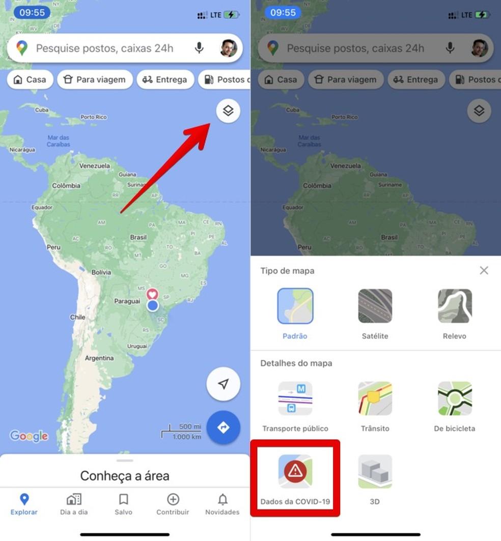 Ativando camada de dados sobre coronavírus no Google Maps — Foto: Reprodução/Helito Beggiora