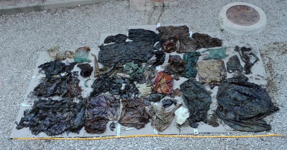 Pedaços de plástico que foram encontrados dentro do estômago da baleia após autópsia (Foto: Reprodução/ Twitter (@EspNaturalesMur))
