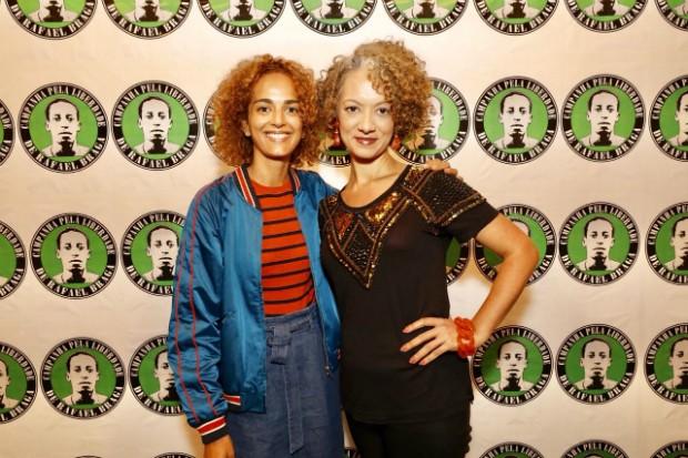 A escritora Leila Slimani e a editora-executiva de Marie Claire, Adriana Ferreira Silva (Foto: Mariana Pekin)