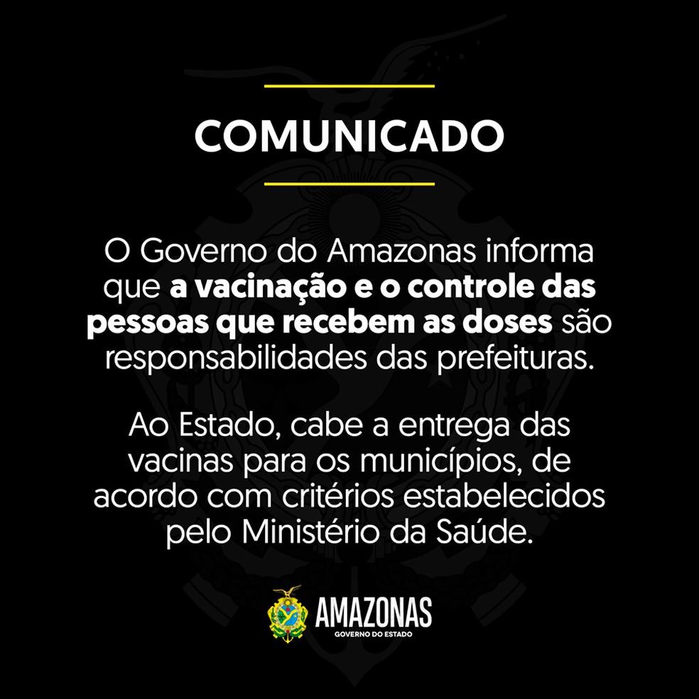 Governo do Amazonas diz que vacinação é responsabilidade de prefeituras. — Foto: Divulgação