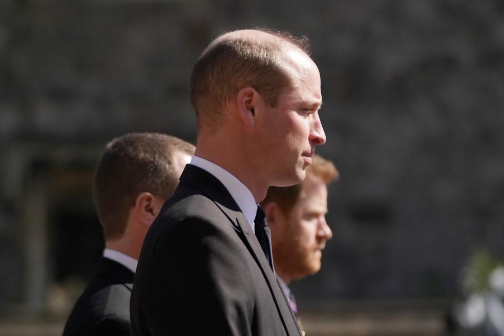 Príncipes William e Harry acompanham funeral do avô, príncipe Philip — Foto: Jonathan Brady/Reuters