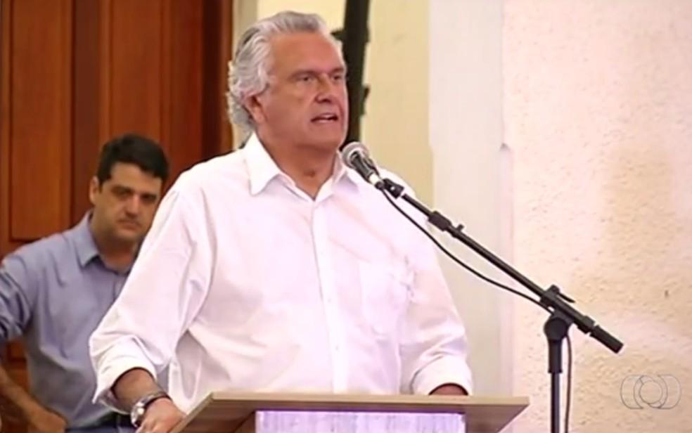 Ronaldo Caiado (DEM) em Jataí Goiás — Foto: Reprodução/TV Anhanguera