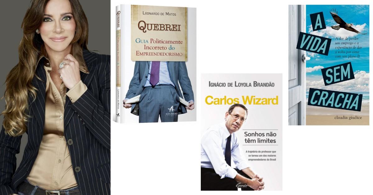 Homens e mulheres de negócios indicam leituras informativas e inspiradoras