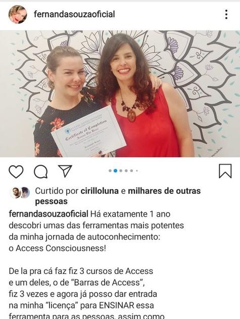 Fernanda Souza mostra diplomas de cursos de Access Consciousness (Foto: Reprodução Instagram)