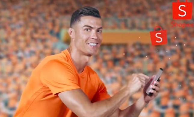 Cristiano Ronaldo em anúncio da Shopee
