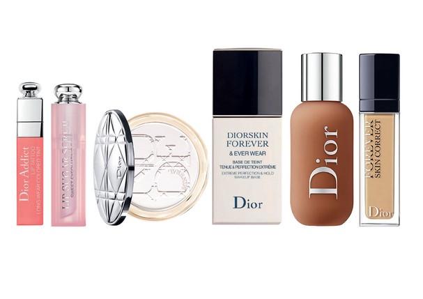 Da esquerda para direita: Dior Addict Lip Tattoo, R$ 159; Dior Addict Lip Sugar Scrub, R$ 169; Diorskin Nude Air Translucent Powder, R$ 299; Diorskin Forever Primer, R$ 289; Dior Backstage Face & Body Foundation, R$ 229; Dior Forever Skin Correct Conceale (Foto: Divulgação)