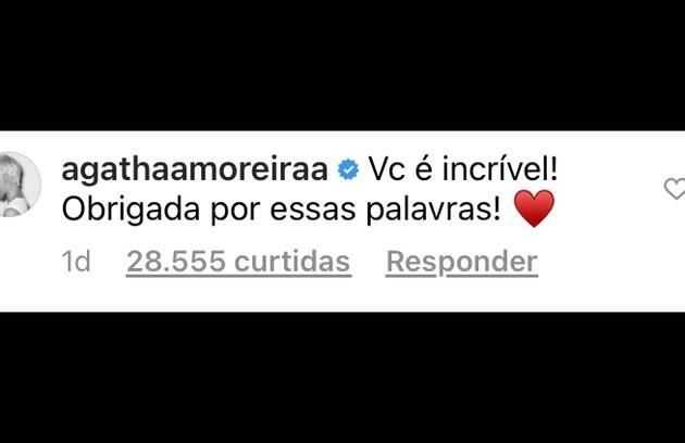 Agatha Moreira, por sua vez, elogiou a postura de Juliana   (Foto: Reprodução)