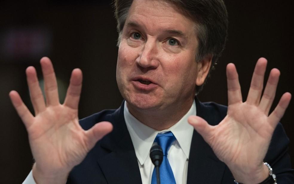 Brett Kavanaugh durante audiência no Senado, em Washington, em 5 de setembro — Foto: Saul Loeb / AFP