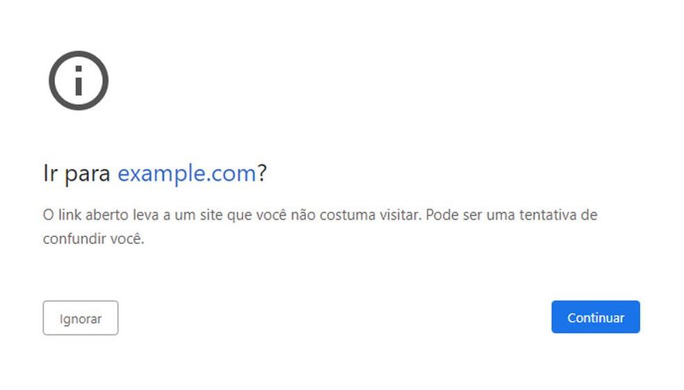 Novo alerta do Chrome será exibido quando endereço de uma página tiver semelhança visual com outros sites populares.  — Foto: Reprodução