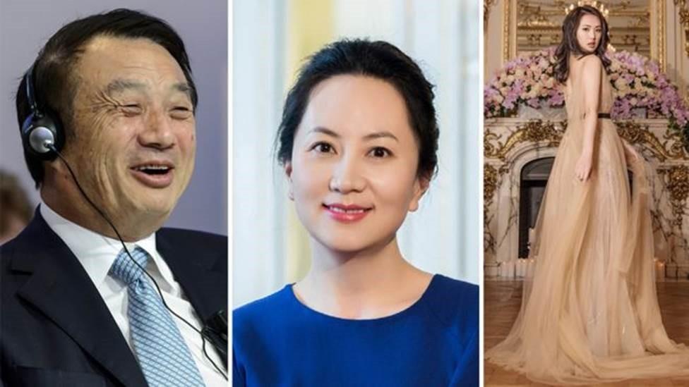 A maioria do clã da empresa Huawei tem se mantido às sombras, como o presidente da empresa Ren Zhengei e sua filha Meng Wanzhou (ao centro); já sua outra filha, Annabel Yao, à direita, publica muitas fotos nas redes sociais (Foto: Getty Images/Reprodução Instagram)