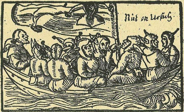 Nau dos insensatos. Antiga alegoria que descreve o mundo e seus habitantes como uma nau cujos passageiros nem sabem nem se importam para onde estão indo (Foto: Xilogravura alemã de 1549)
