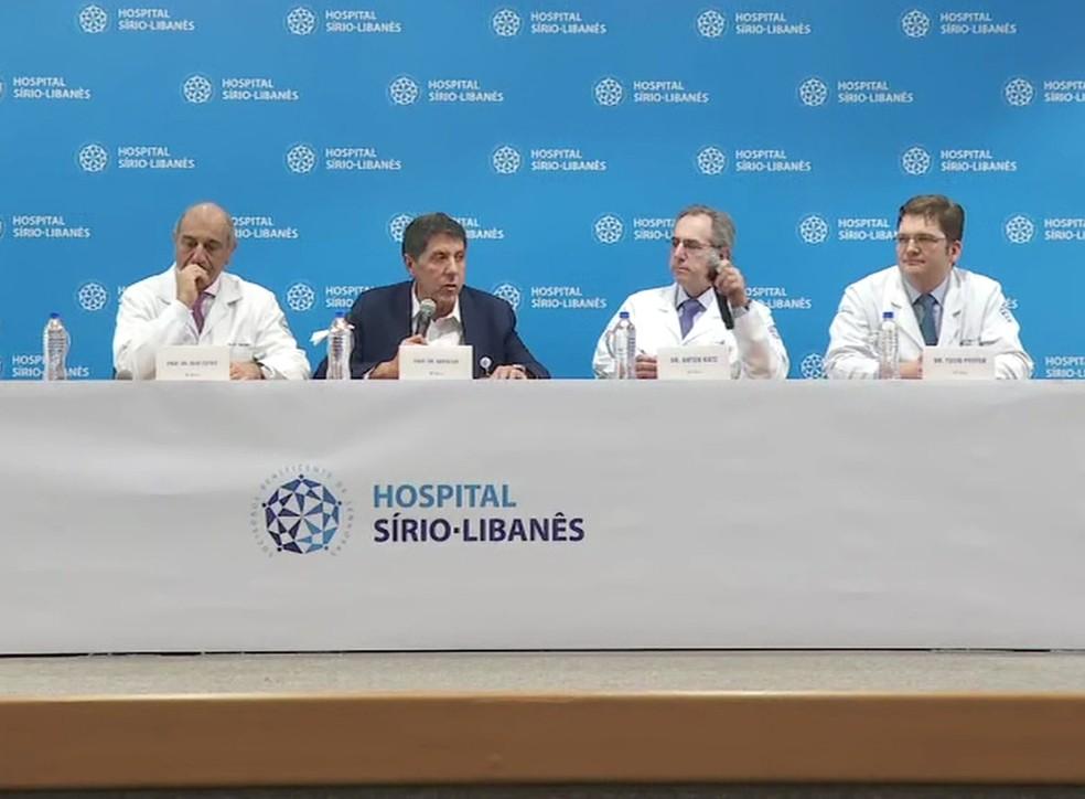 Coletiva de médicos sobre o tratamento de Bruno Covas — Foto: Reprodução/TV Globo