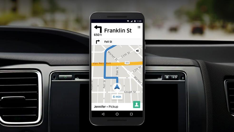 Sistema de navegação da Uber. (Foto: Divulgação/Uber)